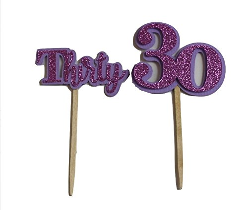All About Details Purple Thirty Cupcake Toppers, Set of (Purple 30th Birthday Decorations)