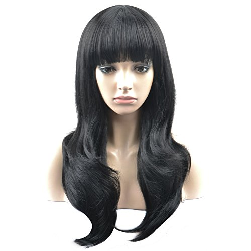 Long Wigs With Bangs (RightOn 26'' Long Wavy Charming Wigs with Neat Bangs for Costume Party or Daily Use Hairnet Included (Black))
