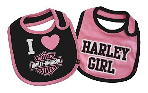 Harley-Davidson Baby Girls' Bibs, Bar & Shield 2 Pack Set, Black/Pink 7009505 for $<!--$12.00-->