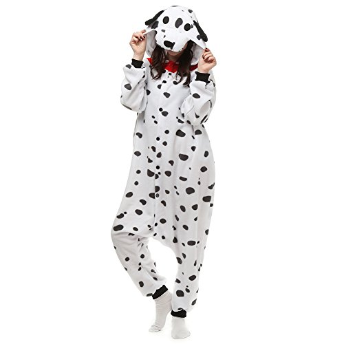 COSPROFE Animal Unisex Adult Cosplay Pajamas One Piece Hooded Sleepwear Halloween Costume (M/L), Dalmatian Dog ()