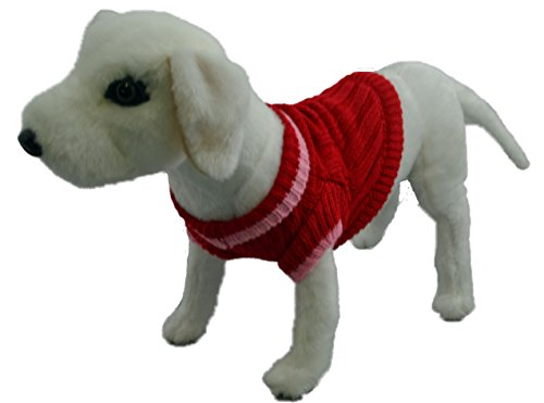Amazing Pet Products Cable Knit Sweater Red -Size 24 by Amazing Pet Products