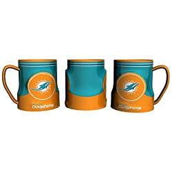 Miami Dolphins 20 Ounce Game Time Sculpted Logo Relief Coffee Mug