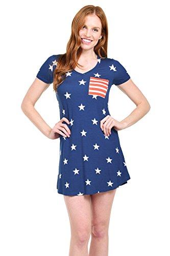 Tipsy Elves Women's Blue USA Stars T Shirt Dress: Small