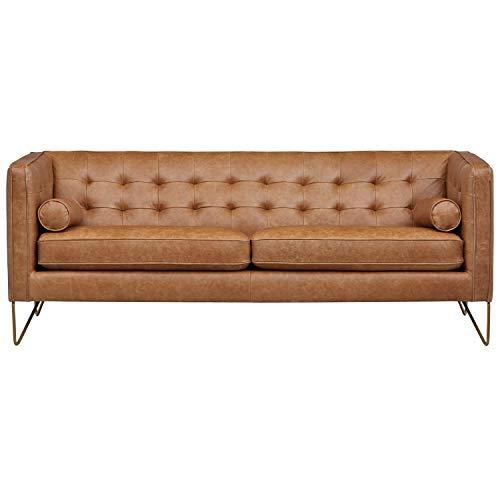 Fantastic Rivet Brooke Contemporary Mid Century Modern Tufted Leather Sofa Couch 82W Cognac Spiritservingveterans Wood Chair Design Ideas Spiritservingveteransorg