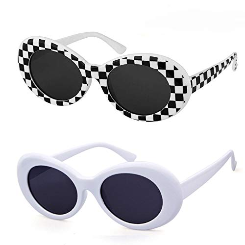 QIFANDI UV400 Clout Goggles Bold Retro Oval Mod Thick Frame Sunglasses (Checkered+White(2Pack))