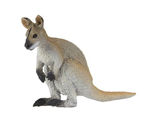 Safari Ltd Wild Safari Wildlife - Wallaby - Realistic Hand Painted Toy Figurine Model - Quality Construction from Safe and BPA Free Materials - for Ages 3 and Up (Macropod Animals)