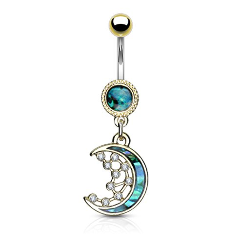 Fifth Cue 14G Mother of Pearl Inlay Crescent Moon & CZ Star Dangle 316L Surgical Steel Naval Belly Button Ring (Gold)