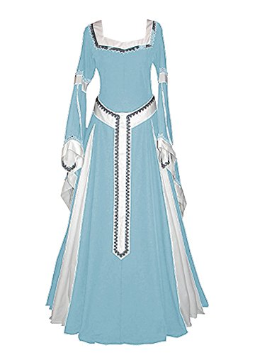 Meilidress Womens Medieval Dress Lace up Vintage Floor Length Cosplay Long Wedding Dress -