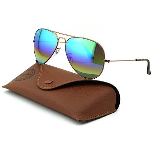 6f5b5253bfeab Ray-Ban RB3025 Aviator Large Metal Unisex Sunglasses (Metallic Medium Bronze  Frame Light Grey Mirror Rainbow Lens 9018C3