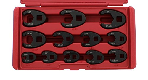 - ABN Jumbo Crowfoot Flare Nut Wrench Set SAE Standard 12-Piece Tool Kit for 3/8