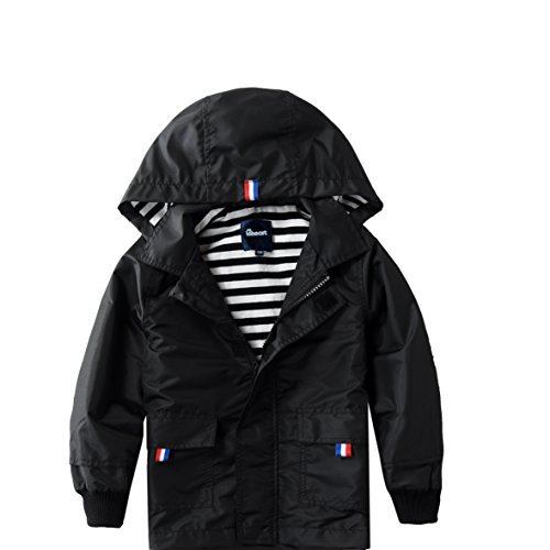 Hiheart Boys Waterproof Hooded Jackets Cotton Lined Rain Jackets Black 4T