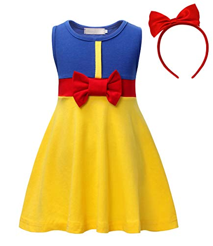 Jurebecia Girls Sleeveless Snow White Dress up with Headband Princess Party Cosplay Size 4T 3-4Years -