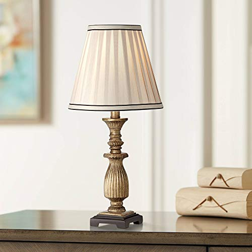 Silver Accent Lamp Pleated Shade - Traditional Accent Table Lamp 18