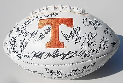 (2015 Tennessee Volunteers Team Signed Logo Football w/COA C)
