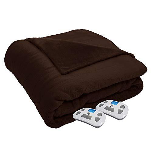 Serta 874539 Silky Plush Electric Heated Warming Blanket Queen Chocolate Washable Auto Shut Off 10 Heat Settings (Serta Queen Heated Blanket)