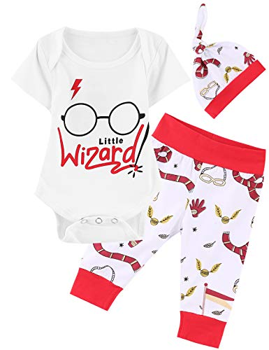 Great Magicians Set - Outfit Set Baby Boy Wizard Magician Funny Romper (Red, 12-18 Months)