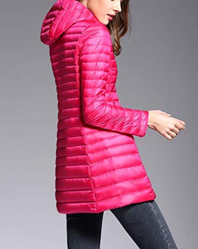 Inverno Ultraleggeri Rosa Cappotto Packable Giacca Cappuccio Lunga Rossa Trapuntato Donna Giacche Piumino Suncaya Con wAS8q6