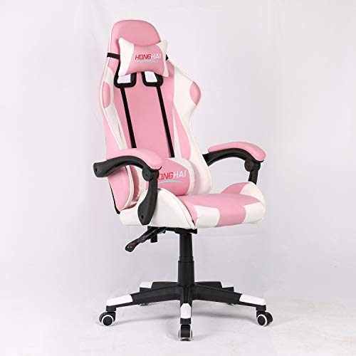 Gaming Chair High Back PU Leather Office Chair Computer Desk Chair- Executive and Ergonomic Style Swivel Chair with Adjustable Lumbar Cushion, Headrest 006pink/white. Pumpkino