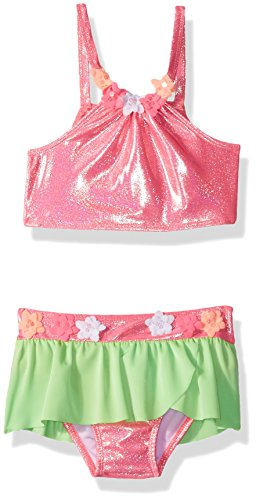 Baby Buns Girls' Little Two Piece Aloha Swimsuit Set with Tulle Skirt, Multi, 4