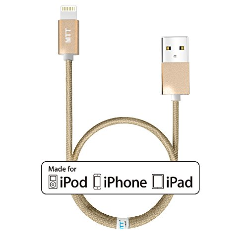 1M Apple MFI Nylon Barided Gold Cable by MTT