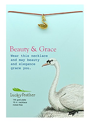 Lucky Feather Pretty Moon - Beauty & Grace - 14K Gold Dipped Swan Necklace - Gifts for Girls