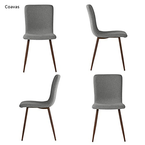 Set Of 4 Dining Chairs Coavas Fabric Cushion Kitchen