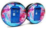 Doctor Who TARDIS Ear Plugs - Acrylic - Screw on - NEWPair (00 Gauge (10mm))