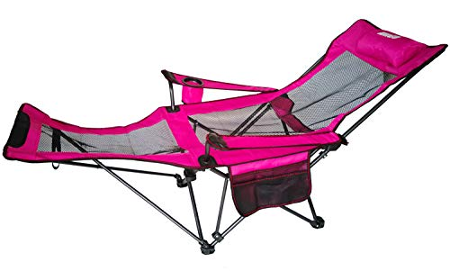 Anigu Mesh Lounge Reclining Folding Camp Chair with Footrest (Pink)