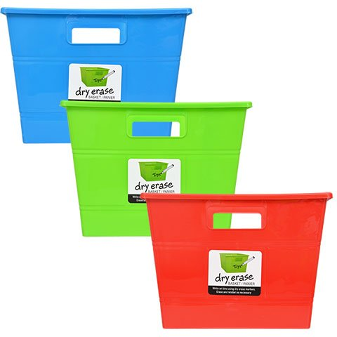 Plastic Storage Locker Bins with Handles Pack of 3 Red Blue Green Stackable Baskets Classroom Play Book Bin Dry-Erase Square Organization Tub For Shelves Colorful Containers For Organizing Toys (Squares Dry Erase)