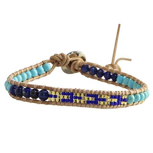 KELITCH Turquoise Lapis Beaded Wrap Bracelet Handmade Friendship Bracelets (Blue) (Lapis Bracelet Turquoise)