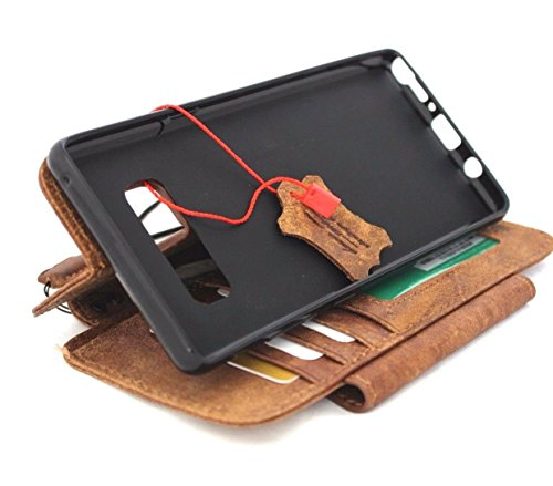 Genuine Leather Case for Samsung Galaxy Note 8 Book Wallet magnetic detachable closure cover brown Handmade Retro Luxury cards slots Daviscase lite