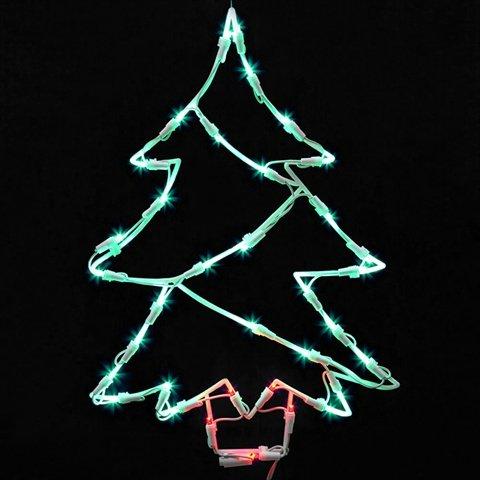 Vickerman Lighted LED Christmas Tree Window Silhouette Decoration, 18''
