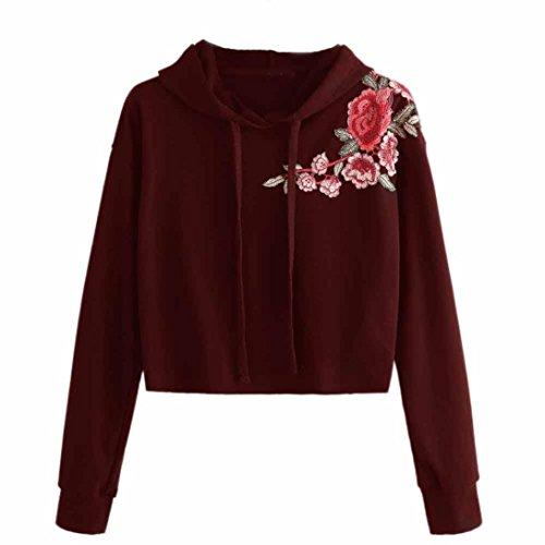 DAY8 Sweat Capuche Femmes Vetements Sport T-Shirt Printemps Manteau Femme Chic Grande Taille Pull Femme Hiver Soiree Vetement Femme Pas Cher Fashion Chemiser Blouse Fille Mode Haut Top Rouge
