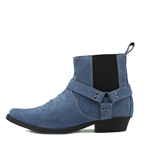 in Pelle Stivali Tacco Kick Suede Tirare Footwear Mens alla Pelle Cowboy Western Caviglia Cubano di Scamosciata Blue nYPAOqYF