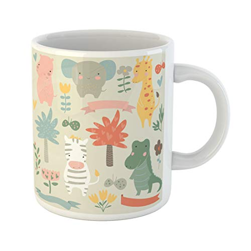 Semtomn Funny Coffee Mug Safari Animals Cute Hippo Elephant Giraffe Zebra Alligator 11 Oz Ceramic Coffee Mugs Tea Cup Best Gift Or Souvenir
