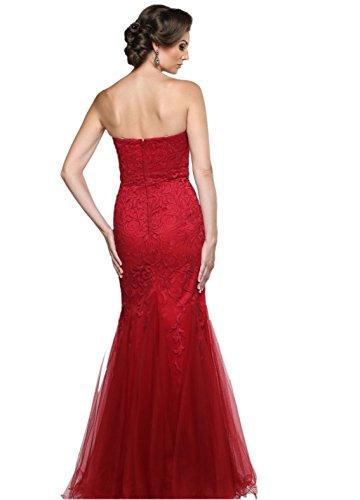 Etui Abendkleider Rot Damen Rot Lang Partykleider Charmant Spitze Figurbetont Ballkleider Promkleider Traegerlos 4YXTwqHp