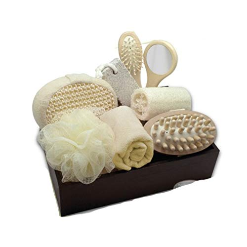 Spa Set Perfect Gift Set Plain Your Escape and Relax Spa Essentials Massage Brush Pumice Stone Loofah Soft Towel Bath Sponge & Keepsake Spa Tray (Stone Keepsake)