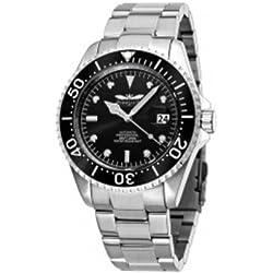 Perigaum P1308SSMBK Men's Pro Diver Automatic Bracelet Watch