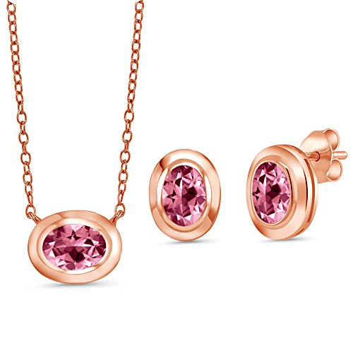 - 18K Rose Gold Plated Silver Pendant Earrings set with Pink Topaz from Swarovski
