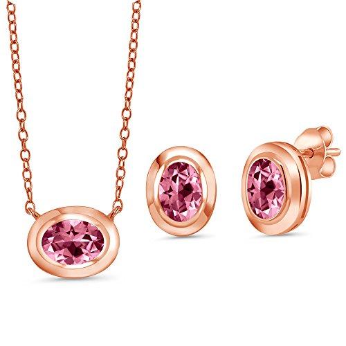 18k Bead Set Bezel - 18K Rose Gold Plated Silver Pendant Earrings set with Pink Topaz from Swarovski
