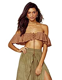 77bef103f7b9d4 Blue Life Melanie Lace Up Strapless Crop Top St Tropez Brown Off Shoulder