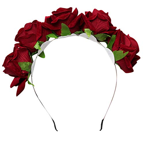 Ladies Bridal Simulation Rose Flowers Wedding Hairpin Hairband Jewelry Accessories (Wine red) ()