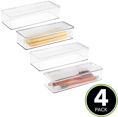 mDesign Stackable Box Kitchen Pantry Cabinet/Refrigerator Food Storage Container Box, Attached Lid - Organizer for Packets, Snacks, Produce, Pasta - 4 Pack - Clear