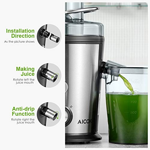 Juicer Machine, Aicok Easy Clean Juice Extractor, 800W Centrifugal Juicer with 3'' Wide Mouth, Dual Speed Stainless Steel Juicer with Anti-drip Mouth, Non-slip feet, BPA Free by AICOK (Image #2)