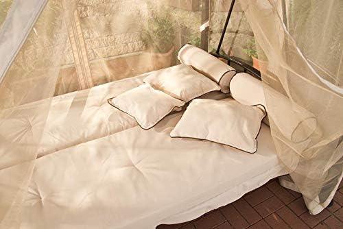 CLP Kenia Banco estilo mecedora con cojines de 8 cm incluidos convertible en cama de 3 plazas crema