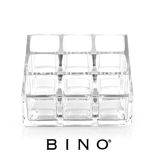 BINO 'Crystalline' 9 Compartment Lipstick Organizer, Clear and Transparent Cosmetic Beauty Vanity Holder Storage (9 Holder Lipstick Space)