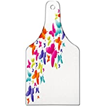 Lunarable Rainbow Cutting Board, Nature Inspired Butterflies in Various Sizes Rainbow Colors Natural Vibes Good Mood, Decorative Tempered Glass Cutting and Serving Board, Wine Bottle Shape, Multicolor
