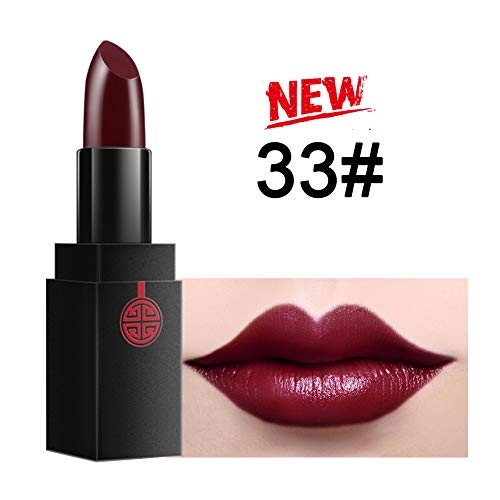 Moisturizing Red lipstick berry color – MEIKING Dark Purple Wine Lip Stick Satin Natural Cosmetics Glitter Lustrous Makeup 16 Shades All Day 0.13 oz (#33 new)