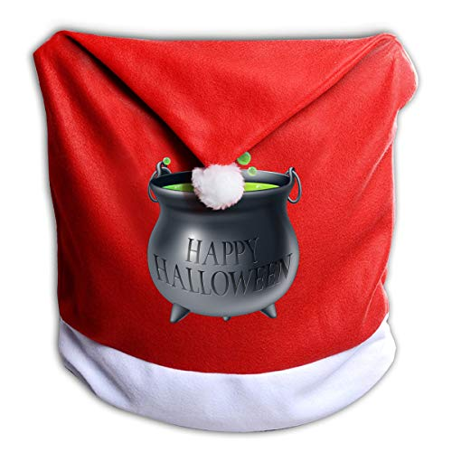 FUNMAX Halloween Witch Cauldron Witches Brew Non-Woven Xmas Christmas Themed Dinner Chair Cap Hat Covers Set Ornaments Backers Protector for Seat Slipcovers Wraps Coverings Decorations -