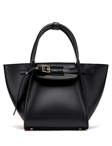LA'FESTIN Designer Leather Work Tote for Women Fashion Elegant Kelly Handbags Black - with Child Zipper Pocket & Leather Buckle ()